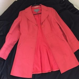 Ann Taylor Cotton Double Breast Trench Coat M Pink